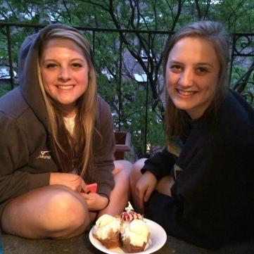 Girls enjoying dessert